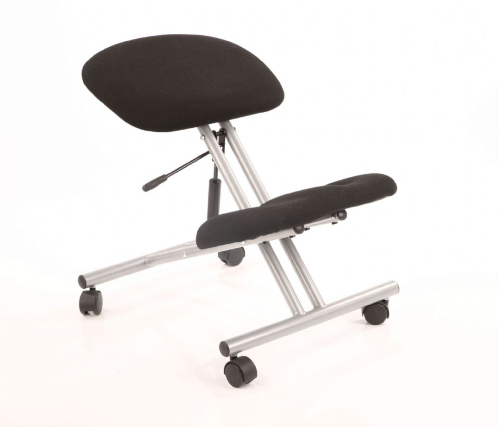 Kneeling Stool Task Operator Office Reduces Back Strain Silver Frame Various Seat Colour Options